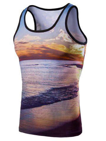 Affordable 3D Round Neck Seaside Sunset Printed Tank Top For Men
