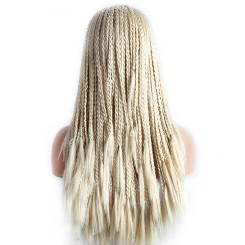 Discount Stunning Blonde Braided Hair Long Heat Resistant Fiber Lace Front Wig For Women - BLONDE #613  Mobile