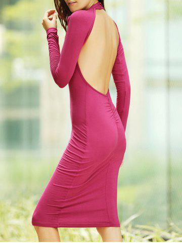 Fashion Backless Long Sleeve Bodycon Midi Cocktail Dress RED S