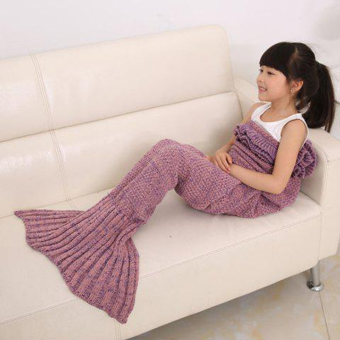 2016 Mode Échelle Fish Tail Shape Flouncing Sac de couchage Mermaid design Knitting Blanket For Kids Plume