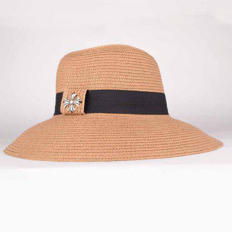 Best Summer Chic Gothic Cross Black Band Sun-Resistant Straw Hat For Women