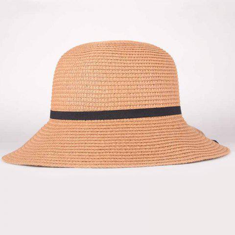 Shops Summer Chic Black Lace-Up Sun-Resistant Straw Hat For Women