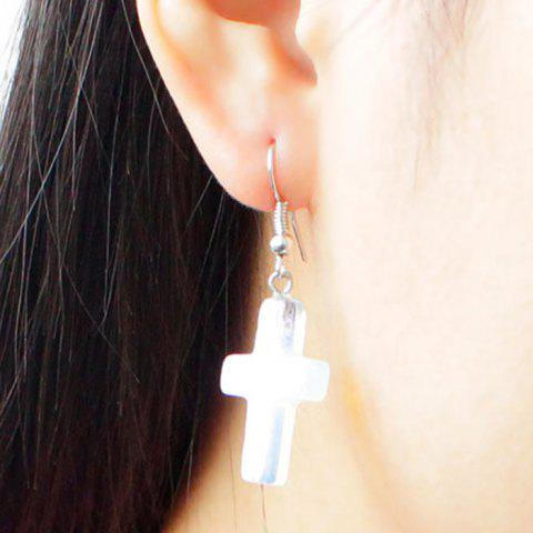 Trendy Pair of Alloy Translucent Cross Drop Earrings