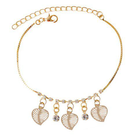 Affordable Chic Faux Zircon Hollow Out Leaf Foot Bracelet GOLDEN