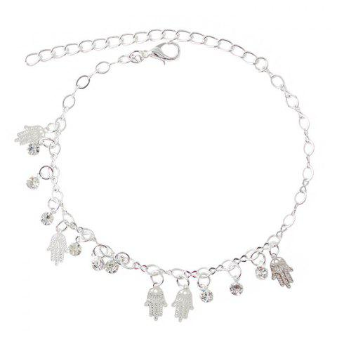 Outfit Chic Faux Zircon Hollow Out Palm Foot Bracelet SILVER