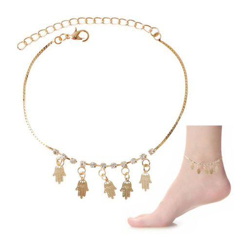 Chic Faux Zircon Hollow Out Palm Foot Bracelet - Golden