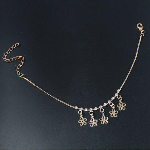 Fashion Chic Rhinestone Hollow Out Flower Foot Bracelet - GOLDEN  Mobile
