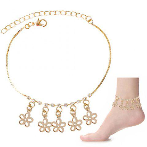 New Chic Rhinestone Hollow Out Flower Foot Bracelet