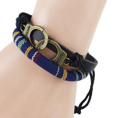 Chic PU Leather Handcuffs Layered Bracelet - BLUE  Mobile