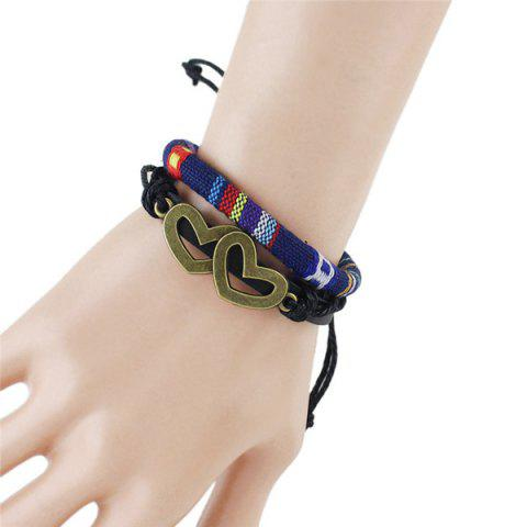 Trendy Hollow Double Hearts Embellished Tribal Wrap Bracelet DEEP BLUE