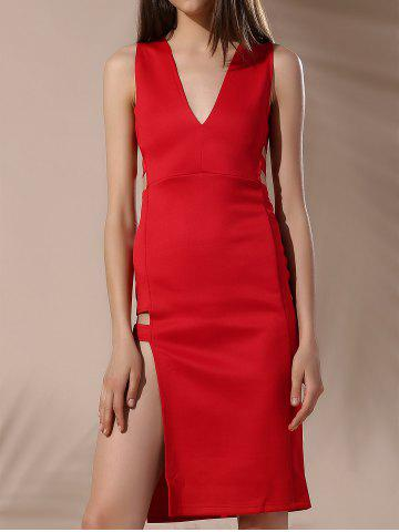 Shops Chic Plunging Neck Sleeveless Hollow Out Zipper Design Skinny Women's Dress