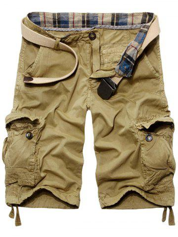 Chic Casual Loose Fit Solid Color Cargo Shorts For Men