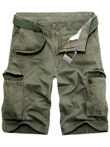 Discount Casual Loose Fit Multi-Pockets Solid Color Cargo Shorts For Men