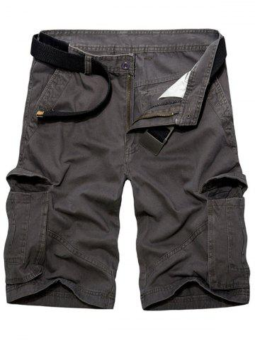 Hot Casual Loose Fit Multi-Pockets Solid Color Cargo Shorts For Men DEEP GRAY 38