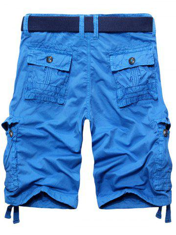 Shops Casual Loose Fit Solid Color Cargo Shorts For Men - 34 AZURE Mobile