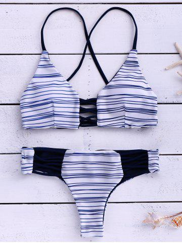 Trendy Cami Stripes Bikini Set STRIPE L