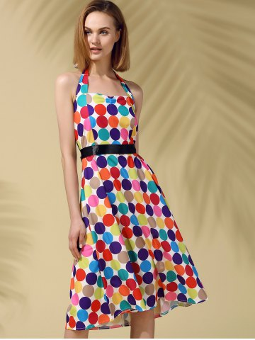 Unique Trendy Halter Polka Dot Colorful Slimming Women's Dress