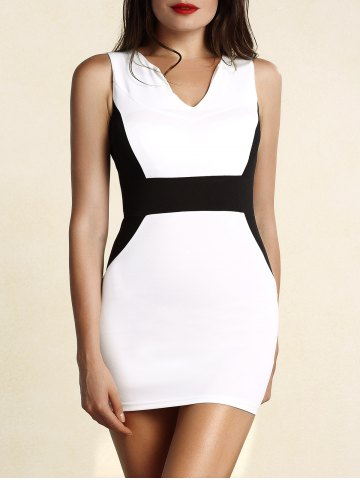 Sale Sophisticated Round Collar Sleeveless Color Block Dress For Women