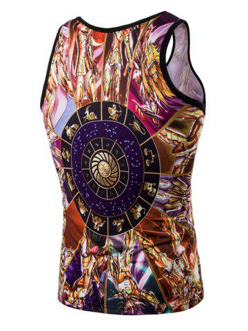 Outfit Fashion 3D Round Neck Cartoon Printed Tank Top For Men - M COLORMIX Mobile