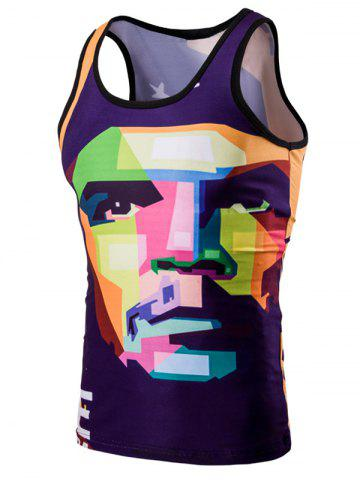 Shop Trendy 3D Round Neck Human Face Printed Tank Top For Men