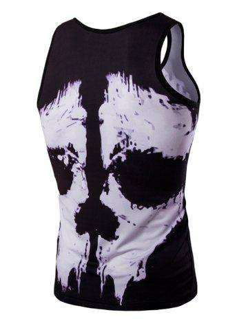 Discount Trendy 3D Round Neck Black And White Skulls Printed Men's Tank Top - XL COLORMIX Mobile