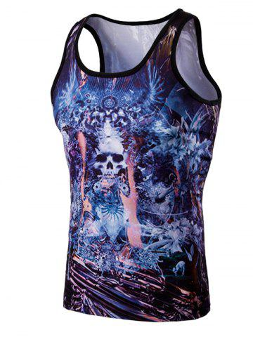 Outfit Fashion 3D Men's Round Neck Skulls Printed Tank Top
