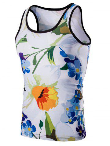 Casual 3D Round Neck Floral Printed Tank Top For Men - Colormix - Xl
