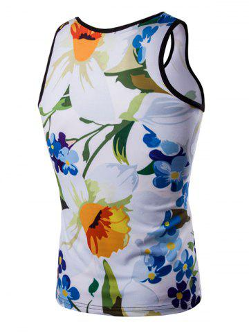 Trendy Casual 3D Round Neck Floral Printed Tank Top For Men - XL COLORMIX Mobile