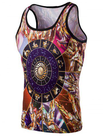 Fashion 3D Round Neck Cartoon Printed Tank Top For Men - Colormix - L