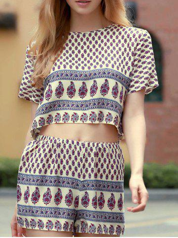 Fancy Short Sleeve Printed Cropped T-Shirt and Shorts Twinset For Women WHITE M