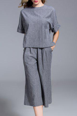 Shop Striped Tee and Cropped Pants Twinset