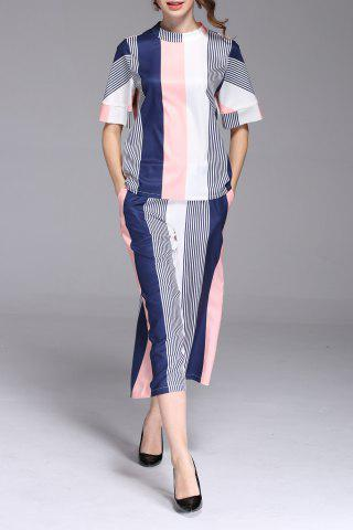 Hot Striped Color Block Blouse and Capri Pants Twinset