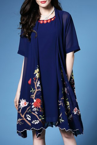Store Flower Embroidered Pleated Cardigan and Sundress Twinset