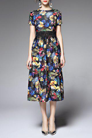 Fashion Round NeckFloral High Waisted Dress