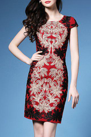 Fashion Scoop Neck Flower Embroidered Bodycon Dress