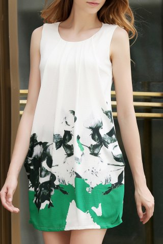 Latest Floral Print White Tank Dress