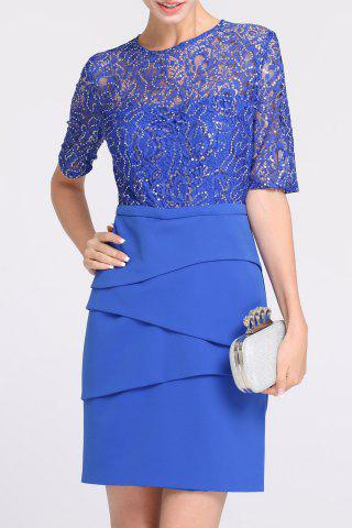 Latest Lace Spliced Sequined Prom Dress