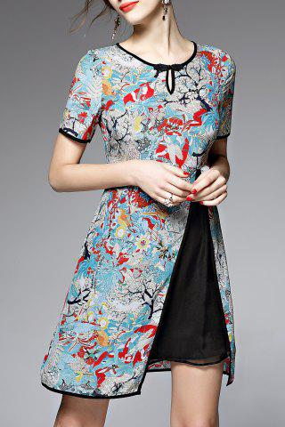 Outfits Short Sleeve Print Spliced Dress
