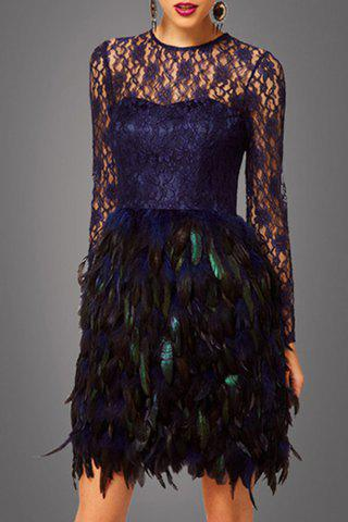 Discount Lace Bodice Feather Prom Dress