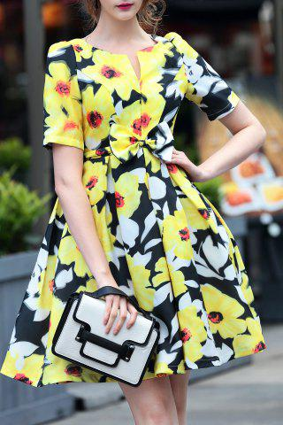 Chic V-Neck Floral Print Bowknot Dress