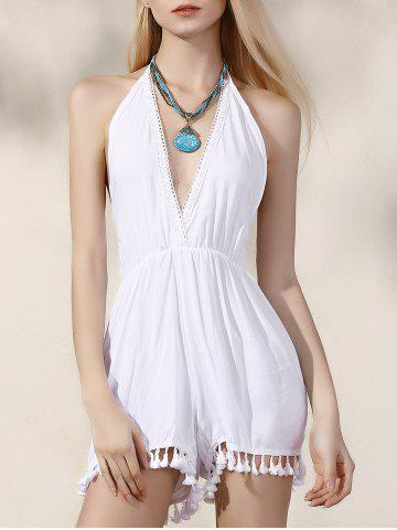 Fashion Stylish Plunging Neck Backless Women's White Romper