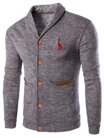 Unique Casual Solid Color Cardigan For Men LIGHT GRAY 2XL
