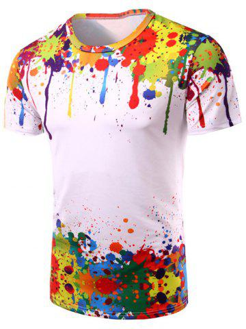 Store 3D Colorful Splatter Paint Short Sleeve T-Shirt - 2XL COLORMIX Mobile