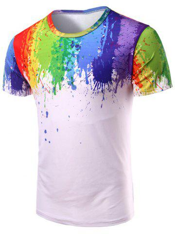 3D Splatter Paint Print Short Sleeve T-Shirt - Colormix - 2xl