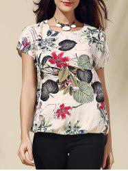 Retro Style Scoop Neck Short Sleeve Floral Print Loose T-Shirt For Women
