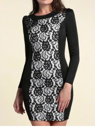 Elegant Round Collar Long Sleeves Lace Spliced Dress For Women -