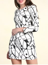 Fashionable Scoop Neck Long Sleeves Printed Dress For Women - WHITE