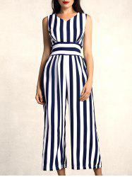 Stylish V-Neck Sleeveless Deep Blue Striped Jumpsuit For Women -