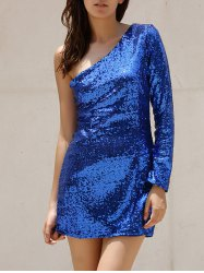 Long Sleeve One Shoulder Short Sequin Glitter Club Dress