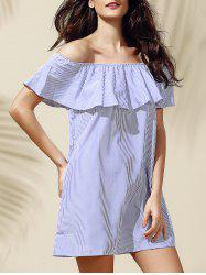 Casual Off-The-Shoulder Striped Flounce Women's Dress -